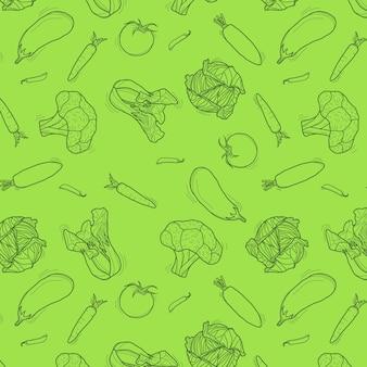 Modèle sans couture de légumes dessinés à la main