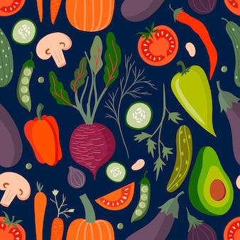 Modèle sans couture de légumes avec différents éléments dessinés à la main