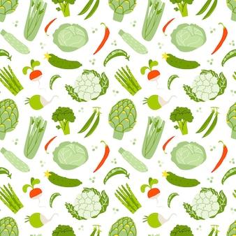 Modèle sans couture avec des légumes sur fond blanc