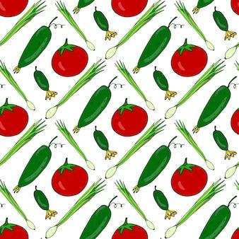 Modèle sans couture avec des légumes frais dessinés à la main. fond de vecteur avec des tomates en bonne santé, des concombres, des oignons
