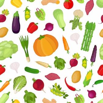 Modèle sans couture avec légumes, grande collection de plantes