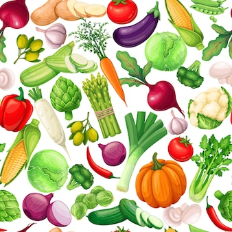 Modèle sans couture de légumes, illustration vectorielle. fond avec artichaut, poireau, maïs, ail, concombre, poivre, oignon, céleri, asperge, chou et ets.