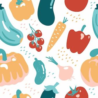 Modèle sans couture avec des légumes texture vectorielle des aliments sains végétariens ferme végétalienne biologique