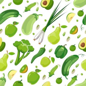 Modèle sans couture avec des légumes verts et des fruits