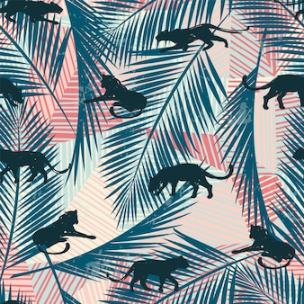 Modèle sans couture avec des léopards abstraits