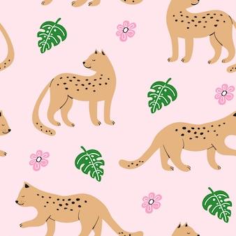 Modèle sans couture avec léopards dessinés à la main
