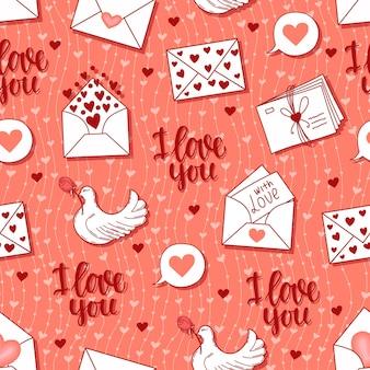 Modèle sans couture avec lettres, coeurs, illustration de fond colombe