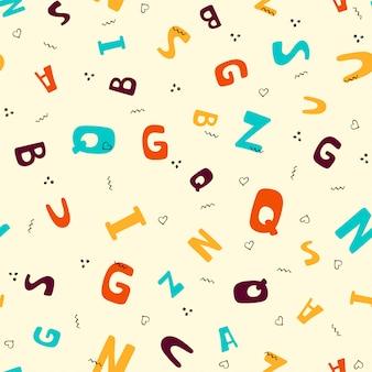 Modèle sans couture avec lettres colorées