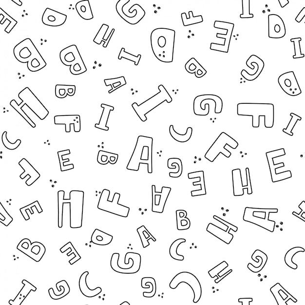Modèle sans couture avec des lettres noires et blanches.