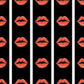 Modèle sans couture de lèvres. lèvres rouges sur fond rayé noir et blanc. conception pour l'impression, les textiles, les emballages, la saint-valentin. illustration vectorielle