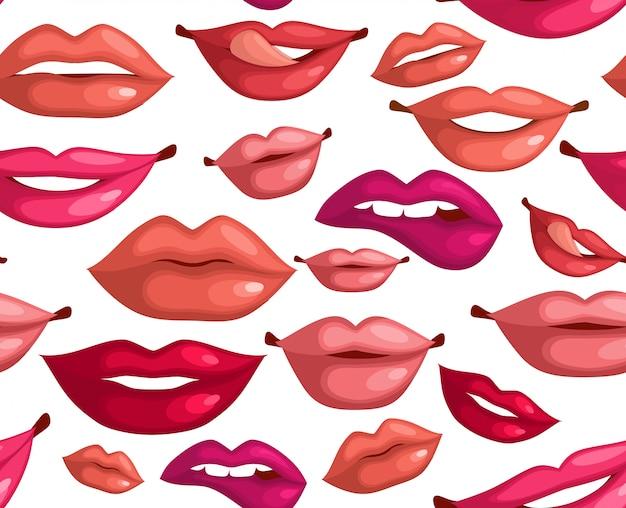 Modèle sans couture avec les lèvres de la mode