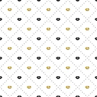 Modèle sans couture avec des lèvres noires et dorées s'embrassent des formes.