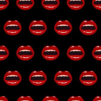 Modèle sans couture avec des lèvres rouges