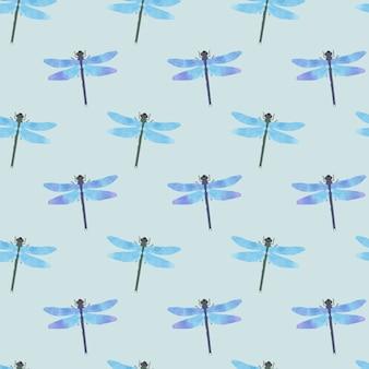 Modèle sans couture de libellule dessiné aquarelle