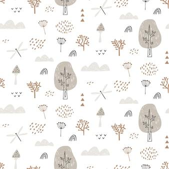Modèle sans couture avec libellule, nuages, arbres. le motif de la forêt dessiné à la main se répète sans cesse.