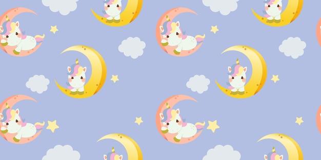 Modèle sans couture de licorne arc-en-ciel mignon assis sur la lune