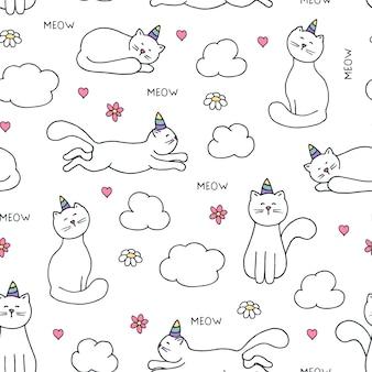Modèle sans couture avec licorne de chats dessinés à la main sur blanc.