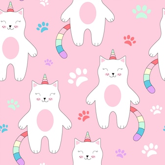 Modèle sans couture avec la licorne de chats mignons.