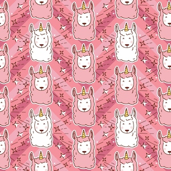 Modèle sans couture de licorne lama dessin animé mignon