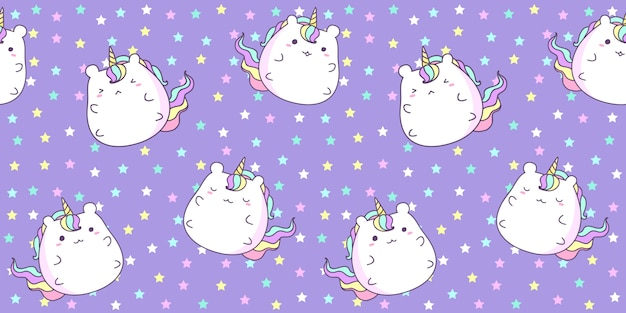 Modèle sans couture avec une licorne mignonne sur l'étoile de couleur violette.