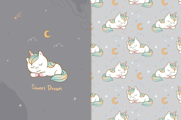 Modèle sans couture de licorne de rêve doux