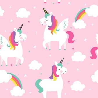 Modèle sans couture avec les licornes et l'arc-en-ciel.