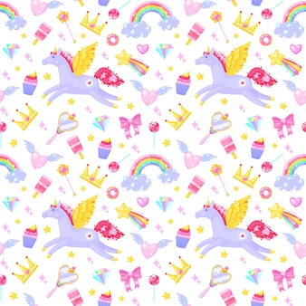 Modèle sans couture avec les licornes, coeurs, robes, bonbons, nuages, arcs en ciel et autres éléments sur fond blanc.