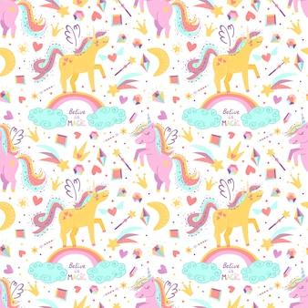 Modèle sans couture avec des licornes fantaisie