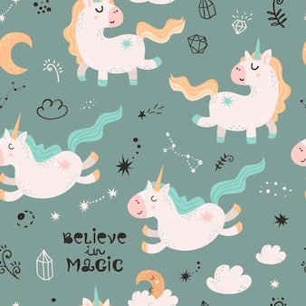 Modèle sans couture avec des licornes magiques.