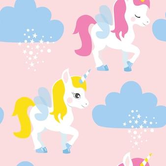 Modèle sans couture avec licornes, nuages et étoiles.