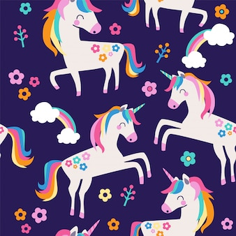 Modèle sans couture avec des licornes, des nuages et des fleurs.