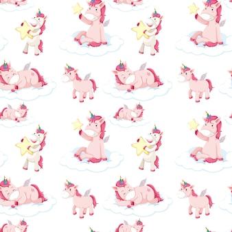 Modèle sans couture de licornes roses