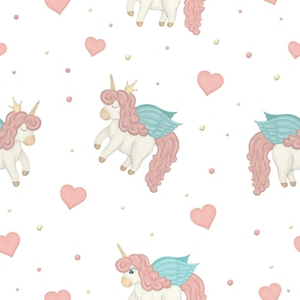 Modèle sans couture avec des licornes de style aquarelle mignon, des cercles colorés et des coeurs.
