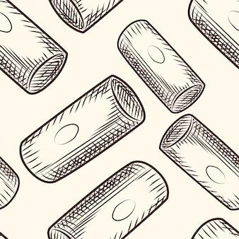 Modèle sans couture de liège de bouteille de vin. toile de fond de bouchons de liège. style de gravure. papier cadeau. illustration vectorielle