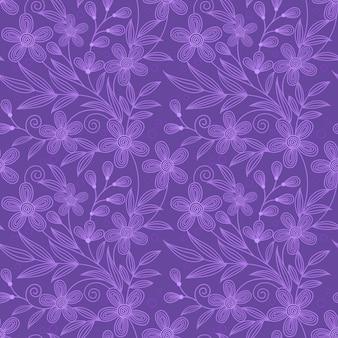 Modèle sans couture de ligne fleurs violettes