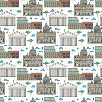 Modèle sans couture linéaire de bâtiments célèbres de rome