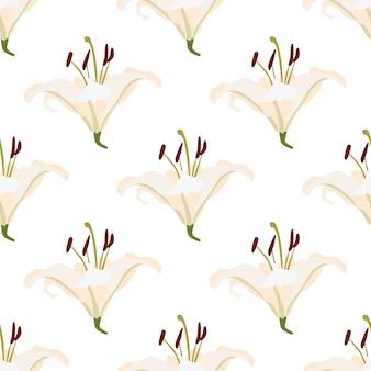 Modèle sans couture de lis géométrique dans un style rétro. beau fond d'écran floral.