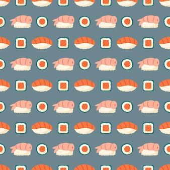 Modèle sans couture de livraison de nourriture asiatique de sushi et de rouleaux