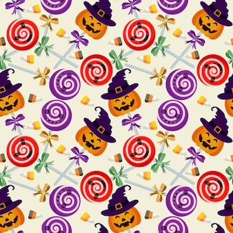 Modèle sans couture de lolipop d'halloween.