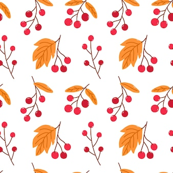 Modèle sans couture lumineux avec des baies d'automne et des feuilles d'or