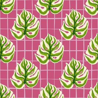 Modèle sans couture lumineux avec impression d'éléments de monstera vert botanique. fond de damier rose.