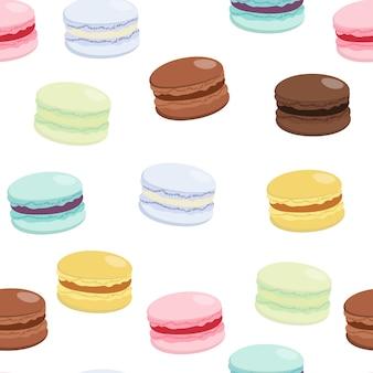 Modèle sans couture de macarons sucrés