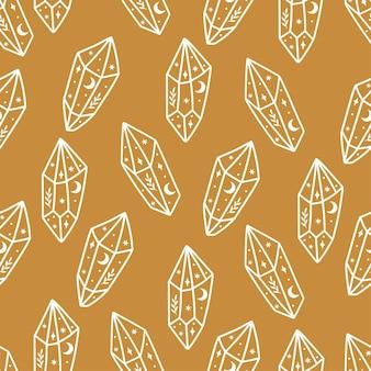 Modèle sans couture magique et céleste avec cristal magique