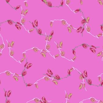 Modèle sans couture magnolias sur fond rose vif. belle texture avec des fleurs printanières.