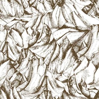 Modèle sans couture avec main de paysage montagneux dessiné avec des lignes de contour sur fond blanc. toile de fond avec des falaises ou une chaîne de montagnes. illustration vectorielle dans un style de gravure rétro pour le papier d'emballage.