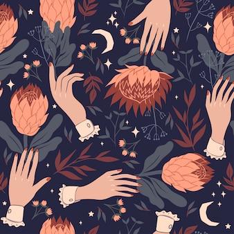 Modèle sans couture avec les mains et les fleurs de protea. graphique.