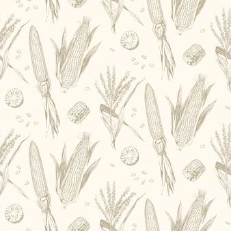 Modèle sans couture de maïs sur l'épi design vintage.