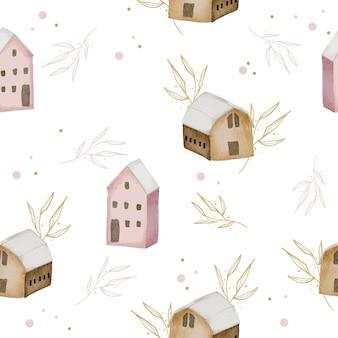 Modèle sans couture avec maison aquarelle hiver et feuilles