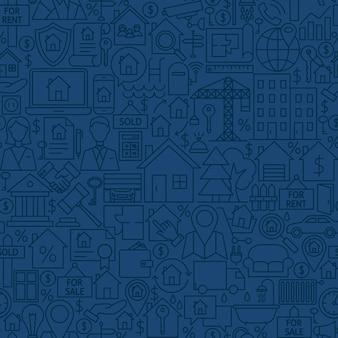 Modèle sans couture de maison de ligne. illustration vectorielle de fond de tuile de contour. objets immobiliers.