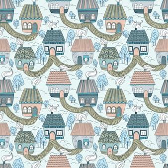 Modèle sans couture avec maisons et arbres. illustration vectorielle